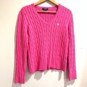Chaps pink v-neck sweater, L